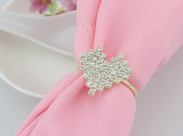 New Rhinestones love heart gold Napkin Rings for wedding dinner,showers,holidays,Table Decoration Accessories wn275