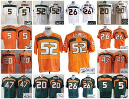Wholesale A1 Football Miami Hurricanes signed throwback Andre Johnson Ed Reed Sean Taylor Irvin Ray Lewis Wayne signature retro jersey men