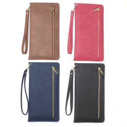 Wholesale Tree Grain Leather Handbag For Iphone Plus S Galaxy Note7 S7 Wallet Zipper Universal inch Cell Phone Card Slot Money Pocket Bags Strap