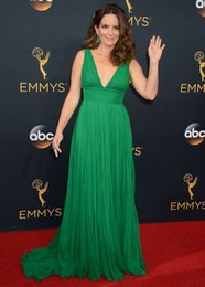 Wholesale V Neck green evening prom dress long th Annual Emmy Awards Tina Fey celebrity red carpet dresses chiffon sweep train