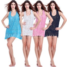 Wholesale Prettybaby women Transparent Lace Sexy women breathable hollow vest beach dress fast