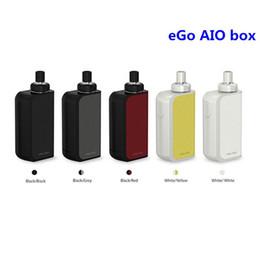 2017 commencer ego kit Authentique Joyetech eGo AIO Boîte de démarrage Kit avec 2ml e-Juice Capacité 2100mAh Built-in Batterie Tout-en-un style eGo AIO Box Kit 100% Original commencer ego kit à vendre