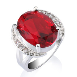 New Women's Fashion Ruby Ring 18k White Gold Plated Brilliant Red Bridal Wedding Party Finger Ring Free Shipping