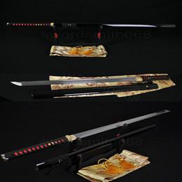 Wholesale Hand Forged Japanese Samurai Ninja Sword Sharp Full Tang Straight Blade High Carbon Damascus Folded Steel Katanas Can Cut Bamboo