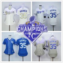 Wholesale Eric Hosmer Women Jersey Kansas City Royals Girl Jerseys Gold World Series Patch White Baby KC Blue S M L XL XL
