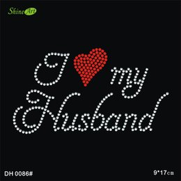 Free shipping Iove my husband hot fix rhinestone applique iron on applique patches iron on crystal transfers design DIY DH0086#