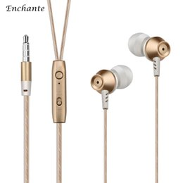 Wholesale ENCHANTE JX Sports Earphones Wired Bass Stereo Earbuds With Mic In Ear mm Plug Noise Cancelling For iphone iOS Android Gold Black
