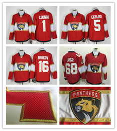 Wholesale Cord NHL Florida Panthers Luongo Barkov Jagr Ekblad Red Hockey Jersey Stitched Mix Order