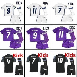 Wholesale Youth MADRID KIDS soccer jersey camisetas futbol RONALDO BENZEMA BALE JAMES SERGIO RAMOS thai thailand quality football jerseys children