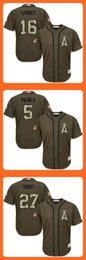 Wholesale Angels of Anaheim Huston Street Albert Pujols Mike Trout Green Salute to Service Stitched Baseball Jersey Drop Shipping Top Quality
