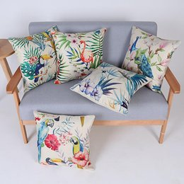 Wholesale 45cm Hot Sale Blue Flower and Parrot Bird Cotton Linen Fabric Throw Pillow inch Fashion Hotal Office Bedroom Decorate Sofa Chair Cushion
