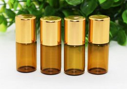 3ml Essential Oil Amber Glass Roll on Bottles for Essential Oils, Perfumes, Lip Balm, Lip Gloss With Stainless Steel Roller Ball 300Pcs lot