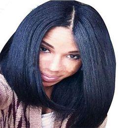 150%density Yaki Straight Brazilian Human Hair Italian Yaki Lace Front Wig&Glueless Full Lace Wig