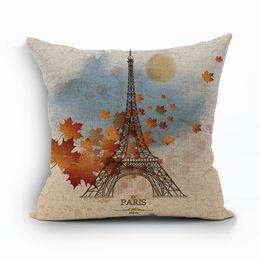vintage paris decoration eiffel tower cushion cover flower leaf cojines retro car almofada rose sofa throw pillow case