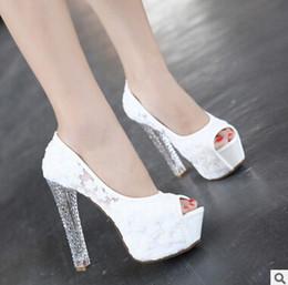 Boda de la sandalia del tacón alto cm en Línea-Tacón alto princesa zapatos de moda zapatos de punta blanca de la boda del pío rosa del cordón Negro 12-13 cm transparentes zapatos de tacón grueso para la ocasión especial