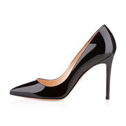 Wholesale Karmran Women Handmade Fashion Bigalle mm Basic French Style Party Office High Heel Pumps Shoes Black Patent