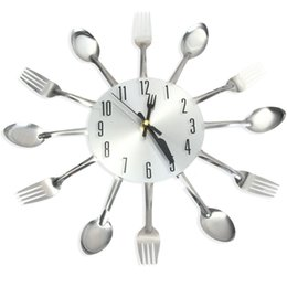 Wholesale Modern Sliver Cutlery Kitchen Wall Clock Spoon Fork Creative Mirror Wall Stickers Mechanism New Design Home Decor