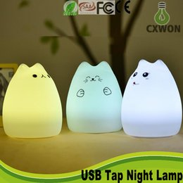 Wholesale Creative Cute Cat tap night lamp Children Kids Baby Night Light Multicolor Silicone Soft Sensitive Tap Control Bedside Lamp USB Wire