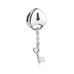 Authentic 925 Sterling Silver Lock Dangle Charms Key to My Heart Pendants for DIY Bracelet & Necklace Jewelry Making S336