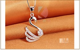 lingdong Beautiful little swan pendant 2016 new 925 Sterling Silver Chain Necklace Jewelry box gift for Valentine's Day Free shipping