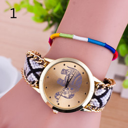 Wholesale South East Asia manual explosion of cash hand woven elephant hand pull rope bracelet watch