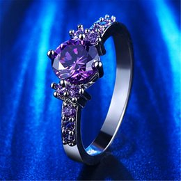 Wholesale Fashion Purple Silver Jewelry diamond rings Amethyst czfor women midi engagement wedding female rings cute jewelry bijoux L200