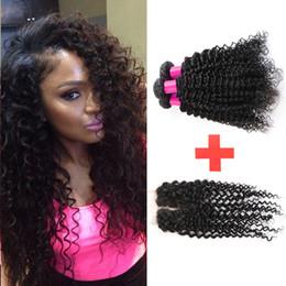 7A Brazilian Virgin Hair With Closure Rosa Hair Products 3 Bundles With Closure Brazilian Kinky Curly Virgin Hair With Closure