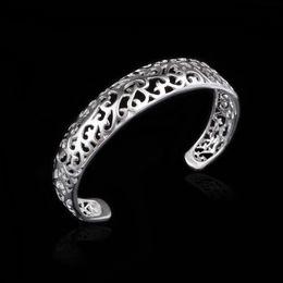 Vintage 925 Silver Plated Bangle Charm Hollow Metal Bracelets Women Ladies Bracelet womens Bangles Cheap Jewelry Fashion Jewellry Gifts
