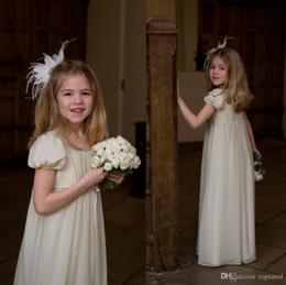Chiffon Princess Flower Girl Dresses for Wedding 2015 Jewel Short Sleeves Ruffles Ribbon Floor Length Lovely Little Kids Skirts Hot Sale