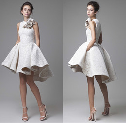 Wholesale 2016 Krikor Jabotian High Low Prom Party Dresses Jewel Neckline A Line Flower Appliqued Short Lace Homecoming Cocktail Gowns