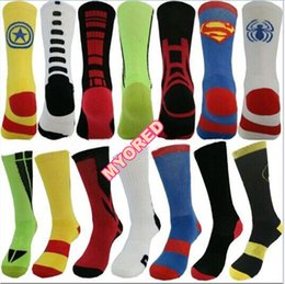 Wholesale 21style men s solid elastic big towel bottom compression sport crew socks Superman Batman flashman spiderman captain america basketball sox