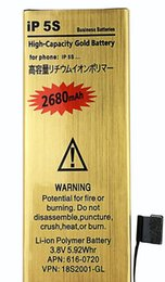 Really High Capacity Battery 2680mah Gold Replacement Li-ion Battery for iPhone 5 5G 5S 5C 6G 6S 6PLUS 6S PLUS Battery with Flex Cable