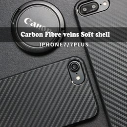Wholesale Carbon Wholesalers - Carbon fiber texture phone shell iphone7 7plus Protective cover Anti-fall Black TPU soft shell universal case
