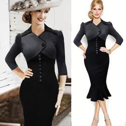Wholesale 2016 New Spring s Vintage Women Casual Winter Long Sleeves Fashion Work Wear Work Denim Dresses Office Dresses OL Ladies Dress FS0892