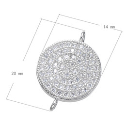 DIY Hair Rope Connection CZ Micro Inlay Fixed Copper Pendant Flat Platinum Plated 20x14mm Hole:About 1.4mm 10 PCS Lot
