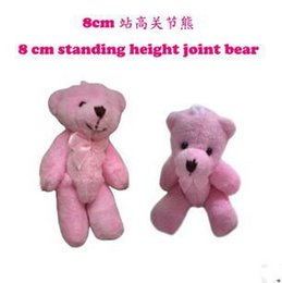 8 CM Pink Teddy Bear Small Soft Toy Charming Wedding Supplies Stuffed Plush Joint Bear Can Sit For Children   Adult 20Pcs  Lot