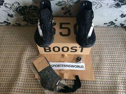 Wholesale 2016 Sply Boost V2 Kanye West Running Shoes with Keychain Socks Shopping Bag Original Box Black SPLY V2 New Tpu Bottom Primeknit