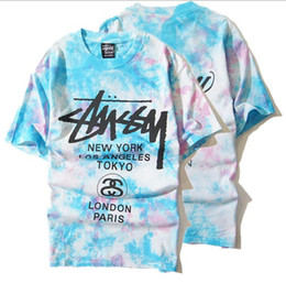 Wholesale Stuss summer new European and American tide brand Seiko tie dye color ice cream short sleeved t shirt men and women of the world cruise