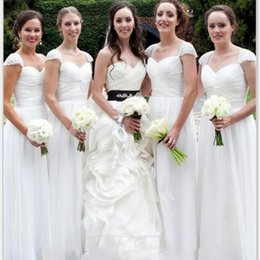 White Elegant Bridesmaid Dresses A Line Sweetheart Capped Sleeves Wedding Party Wears Floor Length Chiffon Bridesmaid Gowns