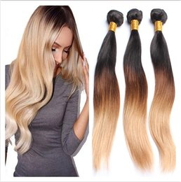 Wholesale Grade A Brazilian Straight Ombre Human Hair Extensions B Honey Blonde Dark Roots Ombre Brazilian Human Hair Weave Bundles