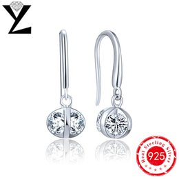 2016 Women Fashion Long Hanging Earrings Sterling Silver 925 with Natural Stone White Gold Plated Wedding Engagement Jewelry NE4100WA