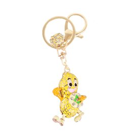 Wholesale Lovely Yellow Peanut New Charm Pendant Crystal Purse Bag Keyring Key Chain Send Friend Creative Gift