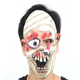 Wholesale Halloween Mask Masquerade for Adult Mummy Fashion Mask with Buck Teeth Latex Mask Eye Falling Full Face Masquerade Cosplay Makeup Costume