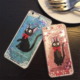 Wholesale Cell Phone Cases Quicksand Soft Silicone for iPhone Cute Black Cat Cell Phone Cases Shockproof Online Store