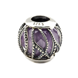 Wholesale Fits for Pandora Bracelet Sterling Silver beads Intertwining Radiance Purple Clear CZ diy Thread charms new autumn pc