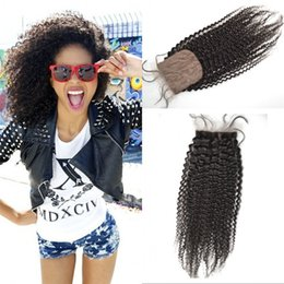 Wholesale African American Afro Kinky Curly Human Hair Silk Base Closure Brazilian Virgin Hair Silk Closure with Baby Hair