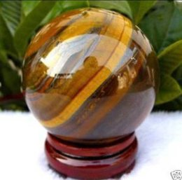 Rare Natural African Roar Yellow Tiger Eye Crystal Healing Ball Sphere 30 40 50 60mm + Stand