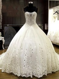 Ivory 2019 Luxurious Beading Crystal Appliques Chapel Ball Gown Wedding Dress sweetheart lace up sleeve bridal gown free shipping