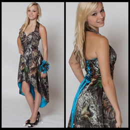 Blue Camo Bridesmaid Dresses 2020 Halter Hi Lo Camo Short Front Long Back Wedding Party Dress Camouflage Maid Honor Gown
