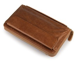 Capacity Business Men's Genuine Leather Zipper Bifold Clutch Wallet Cow Leather Wallets For men